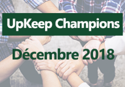 UpKeep champions Décembre 2018
